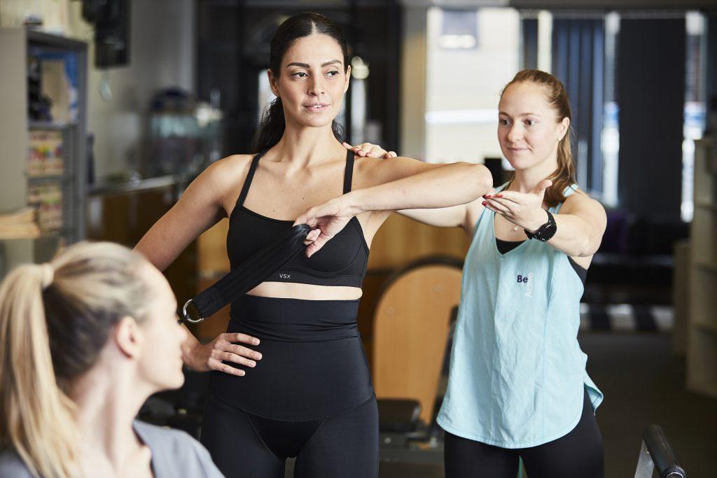 Women exercising in SRC pregnancy pants