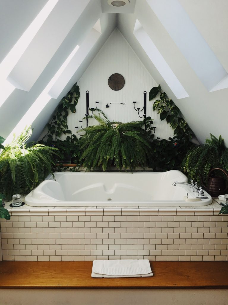 Beautiful bath surrounded by indoor plants