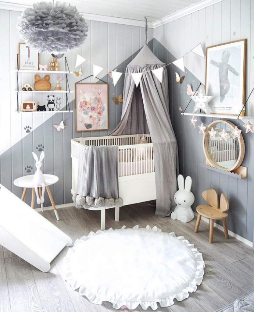 Grey and white baby girls room