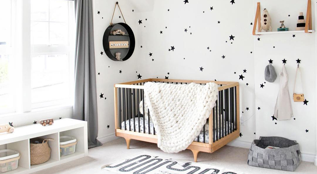 Grey and white boys room