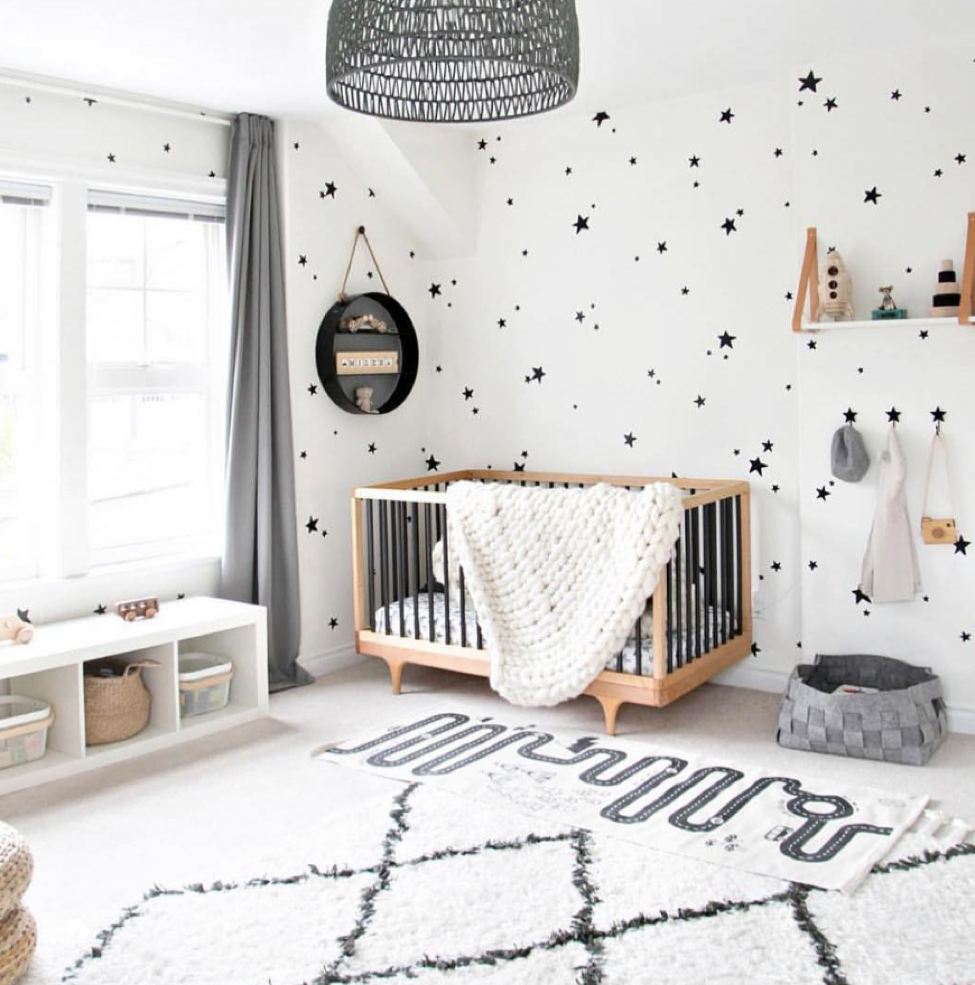 Grey and white childs room