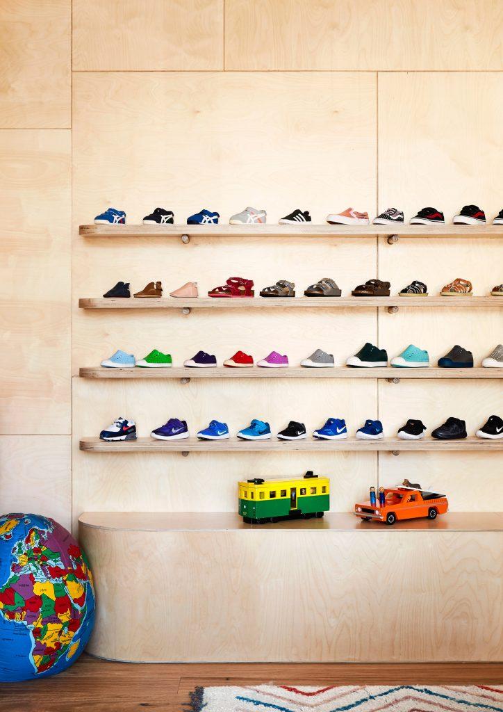Wall of shoe display in Oishi-m shop