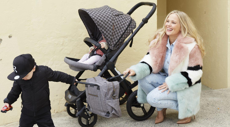 Rachelle Rowlings with baby in pram