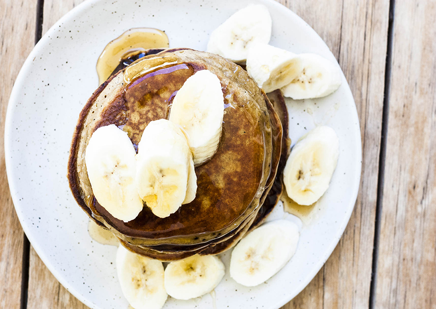 Vegan banana hazelnut pancakes from above