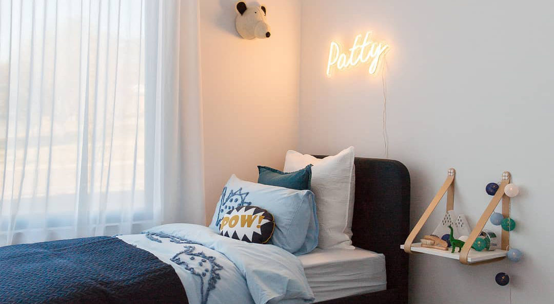 Boys rooms with neon light and animals