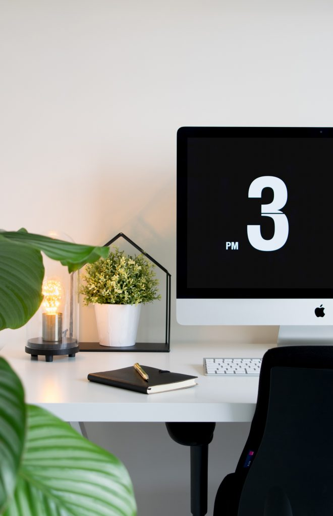 Nice home office desk with plants