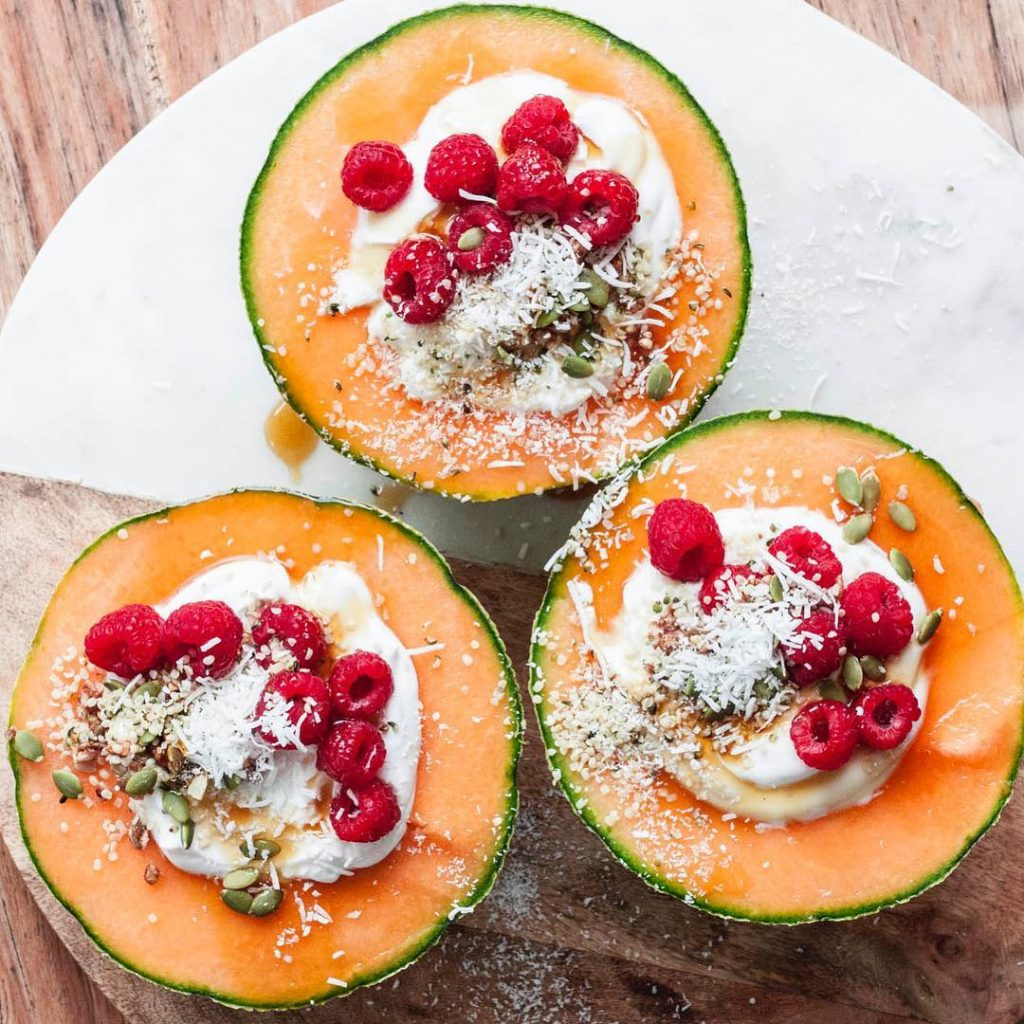 Whole Vegan Pantry Rockmelons with coyo yoghurt and granola