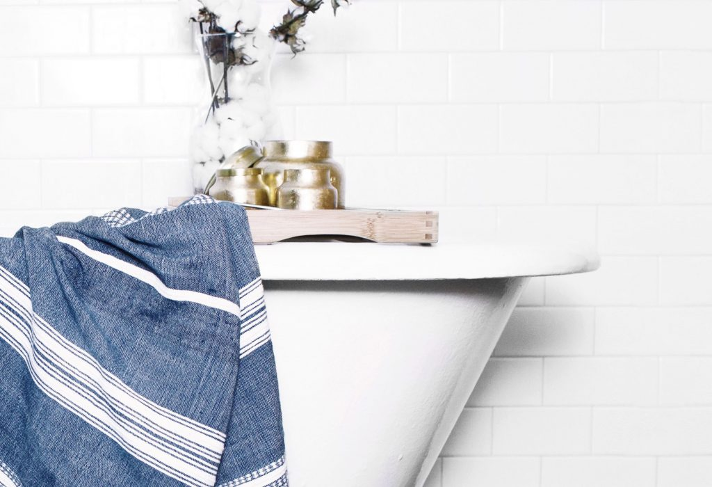 Creative Women textiles in bathroom