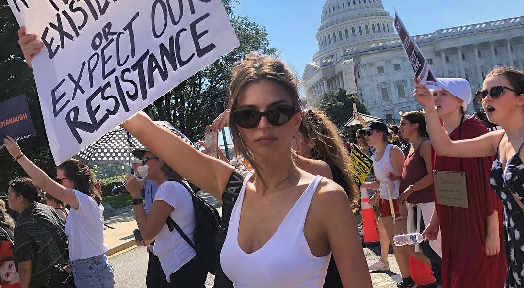 Emily Ratajkowski protesting and arrest