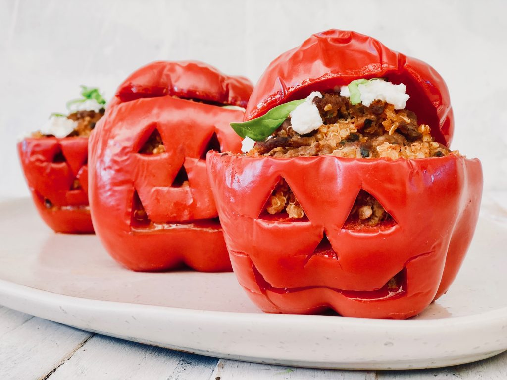 Health halloween recipe quinoa and beef stuffed capsicum by Mandy Sacher