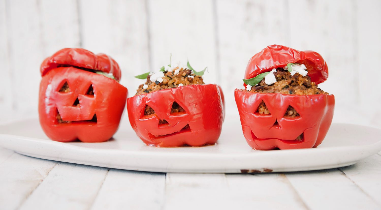 Mandy Sacher Halloween Quinoa & beef stuffed capsicum