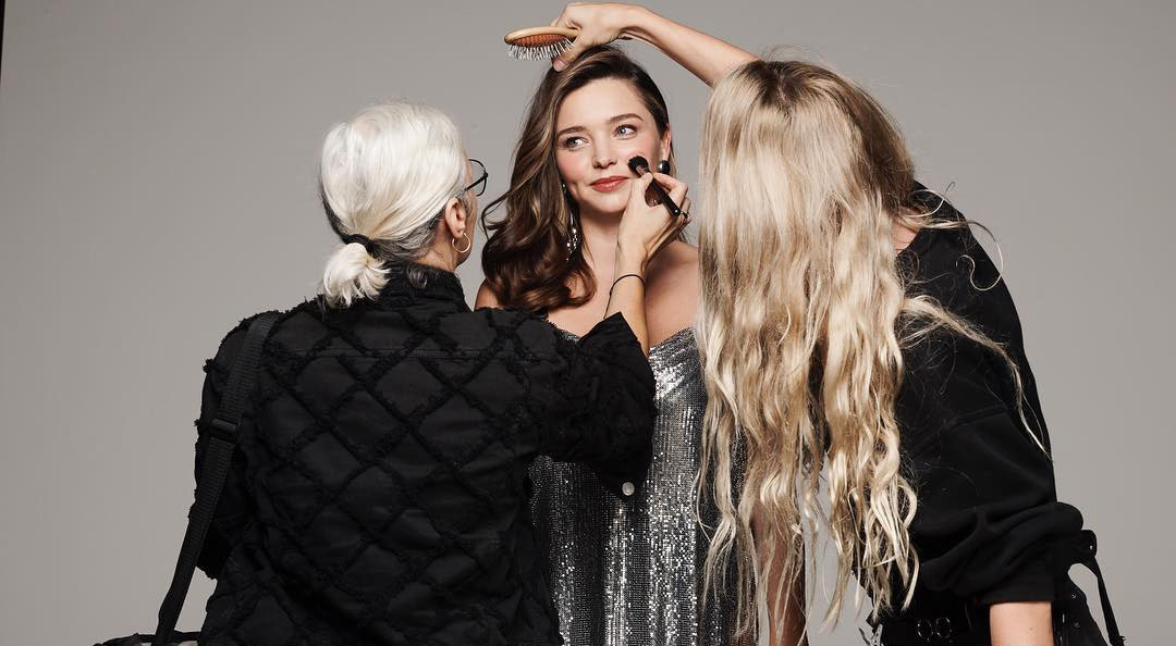 Miranda Kerr getting hair and makeup done