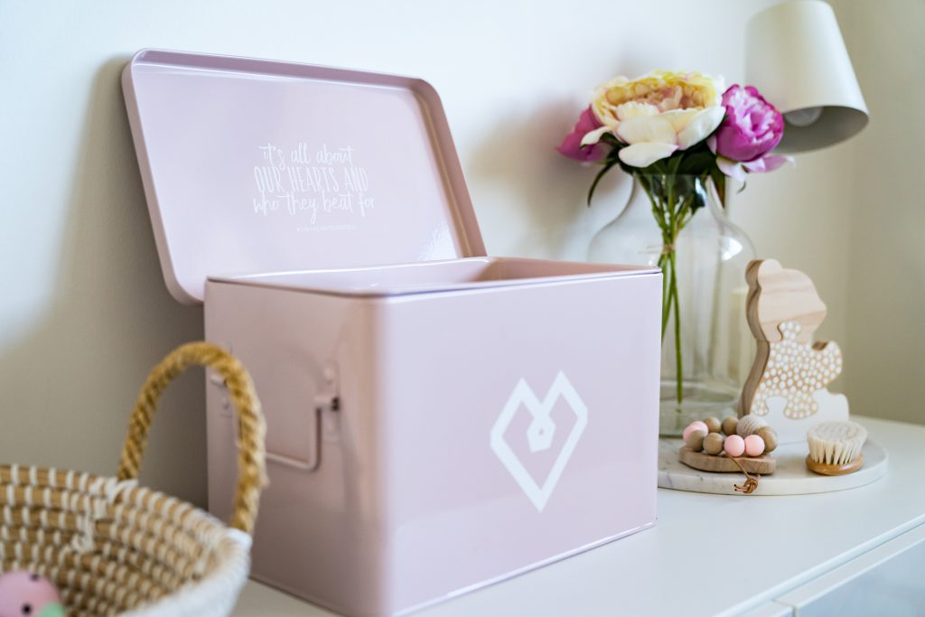 Tiny Hearts pink first aid box in childs room