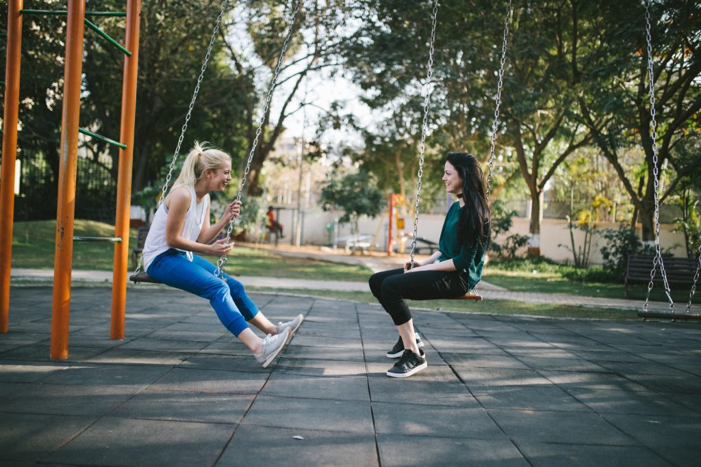 Women talking at park