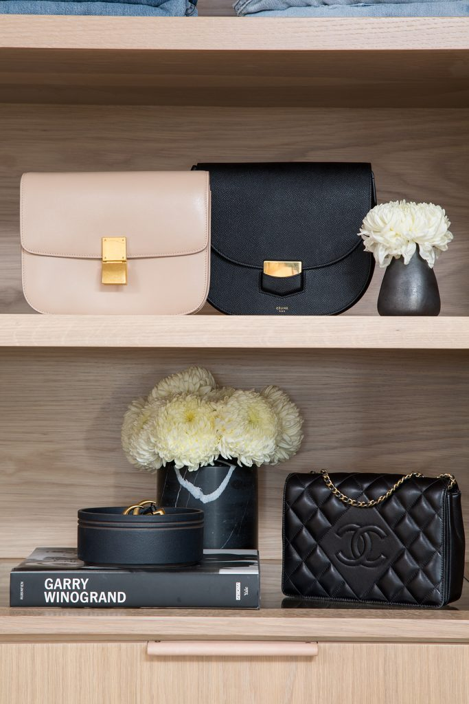 Handbags styled in beautiful wardrobe