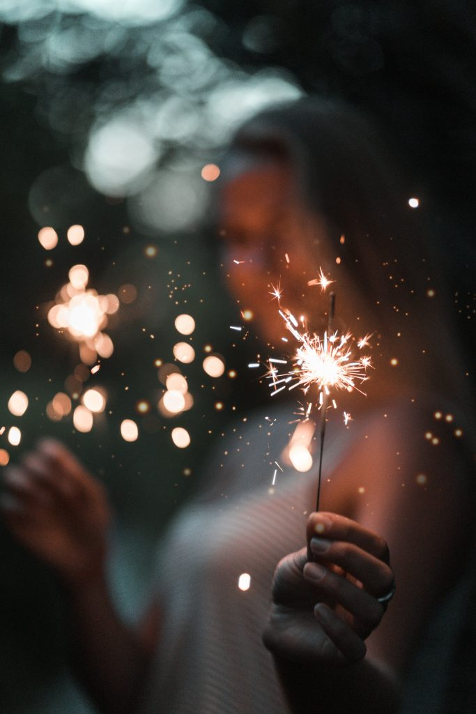 Women celebrating holding sparklers