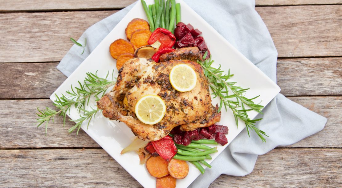 The Wholesome Child roast chicken in marinade