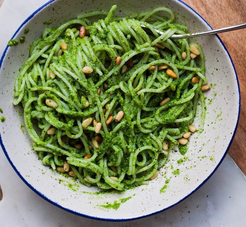 Full view Lemon Rocket Pesto with Quinoa Spaghetti and Toasted Pinenuts whole vegan pantry recipe
