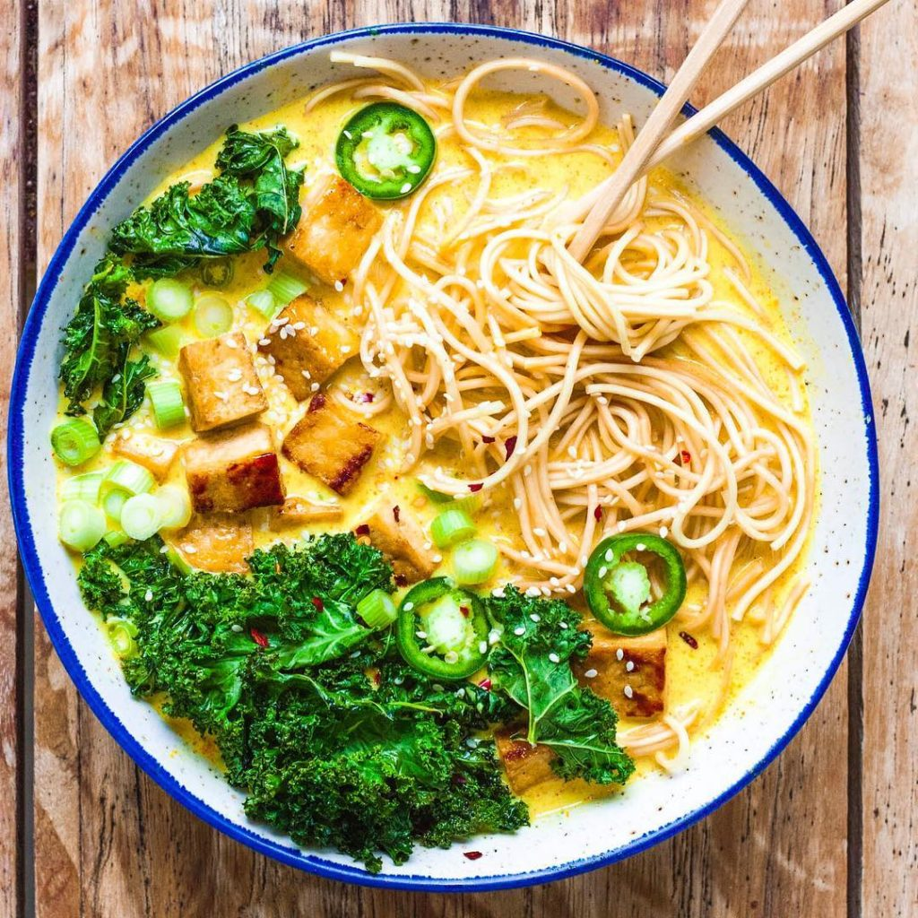 Whole vegan pantry Ramen with Crispy Tofu and Kale Chips full view