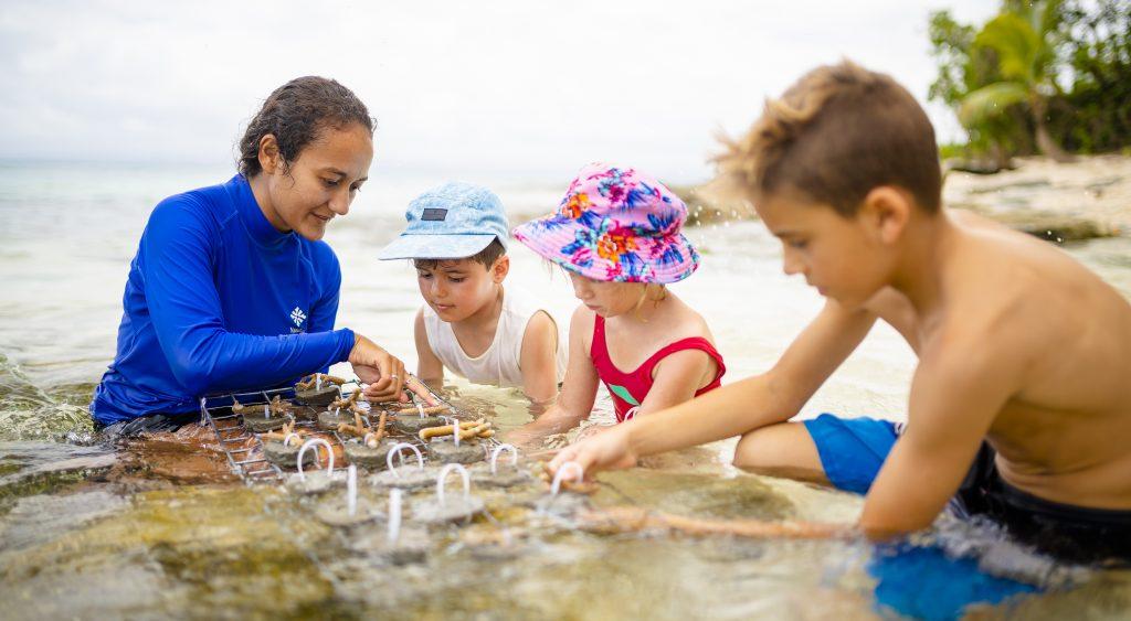 Nanuku children planting new coral in reef