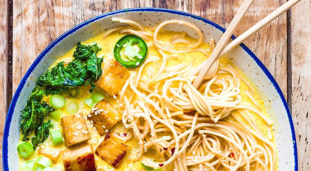 Whole vegan pantry Ramen with Crispy Tofu and Kale Chips